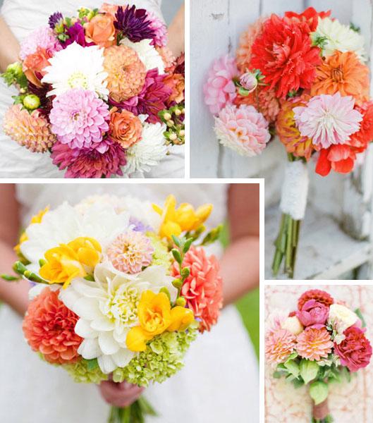 Farverige brudebuketter